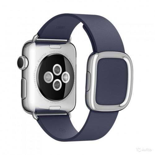 Браслет кожаный Blue Modern Buckle for Apple Watch 38/42mm
