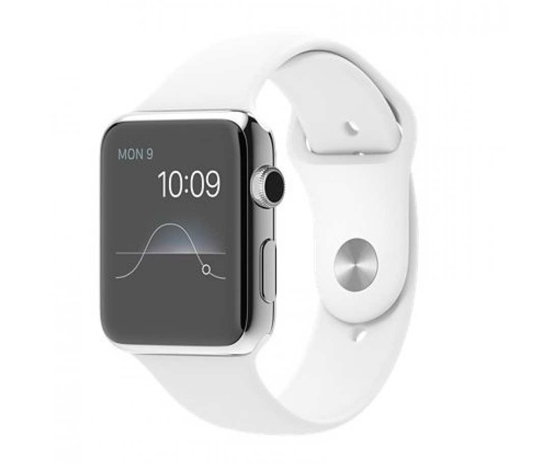 Apple Watch Series 2 38mm Stainless Steel Case with White Sport Band (MNP42)