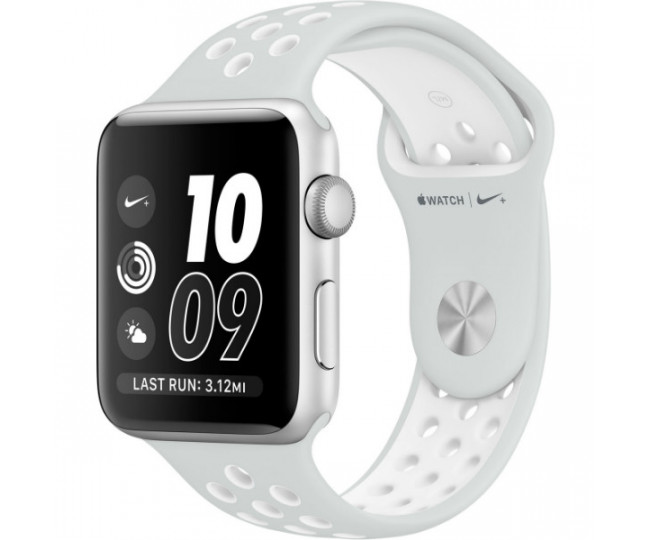 Apple Watch Nike 42mm Silver Aluminum Case with Pure Platinum/White Nike Sport Band (MQ192)