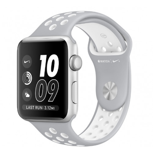 Apple Watch Nike 42mm Silver Aluminum Case with Silver/White Nike Sport Band (MNNT2)