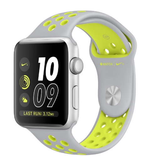Apple Watch Nike 42mm Silver Aluminum Case with Flat Silver/Volt Nike Sport Band (MNYQ2)