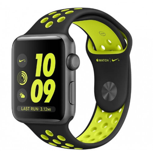 Apple Watch Nike 42mm Space Gray Aluminum Case with Black/Volt Nike Sport Band (MP0A2)