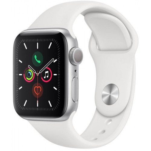Apple Watch Series 5 (GPS + Cellular) 40mm Silver Aluminum Case with White Sport Band (MWWN2, MWX12)