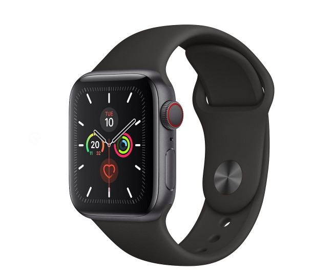 Apple Watch Series 5 (GPS   Cellular) 40mm Space Gray Aluminum Case Black Sport Band (MWWQ2, MWX32)
