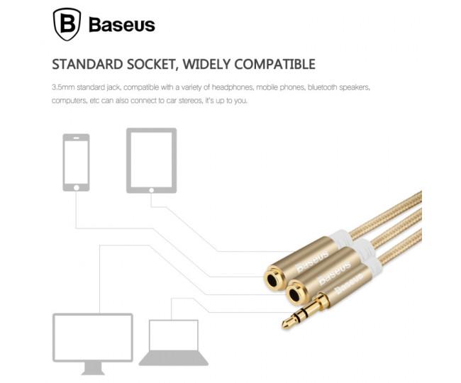 Разветвитель Baseus Fluency Series 2 выхода Gold