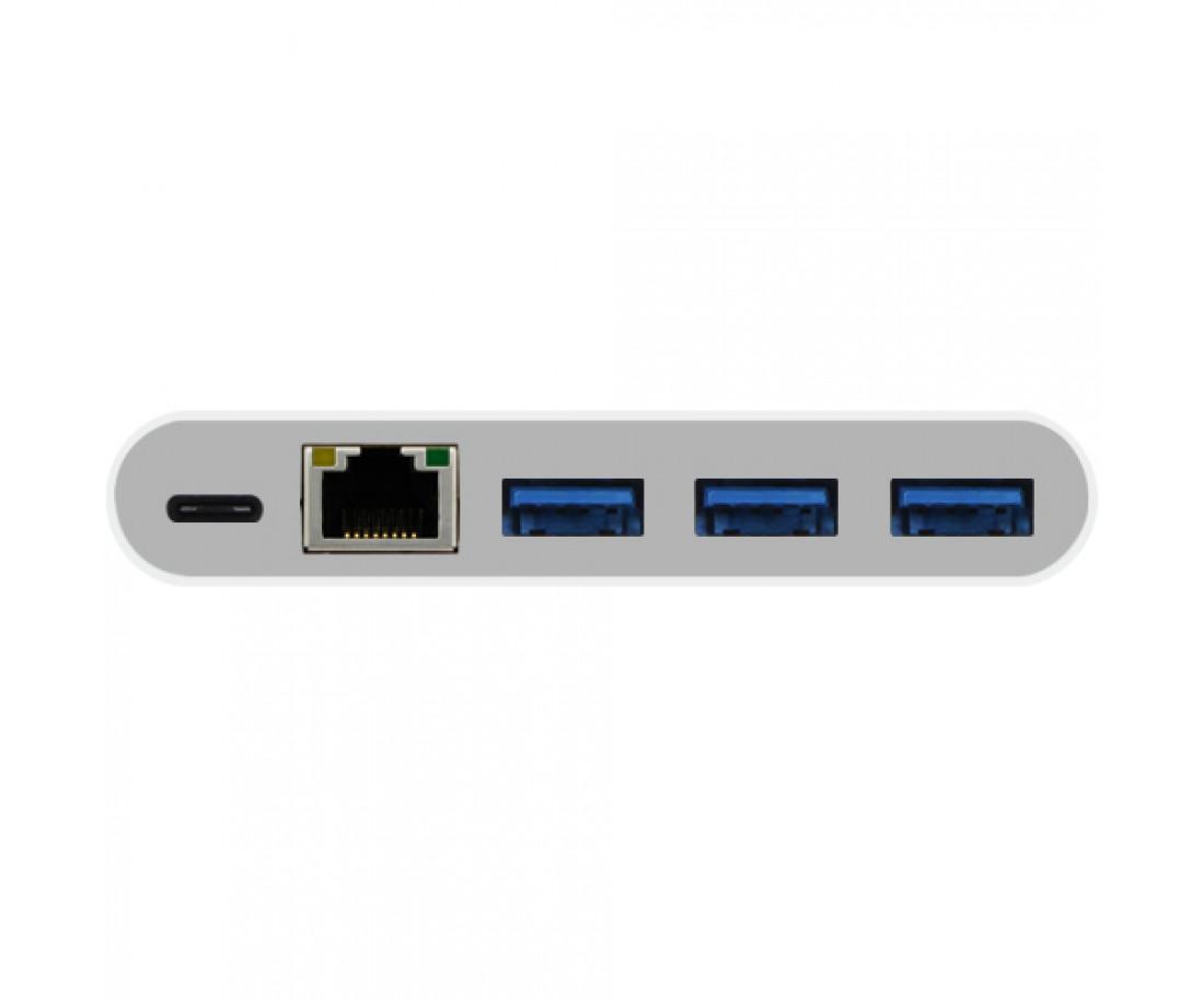 Мульти портовый 3 в 1 Ethernet адаптер Macally для 3.1 USB-C (UC3HUB3GBC)