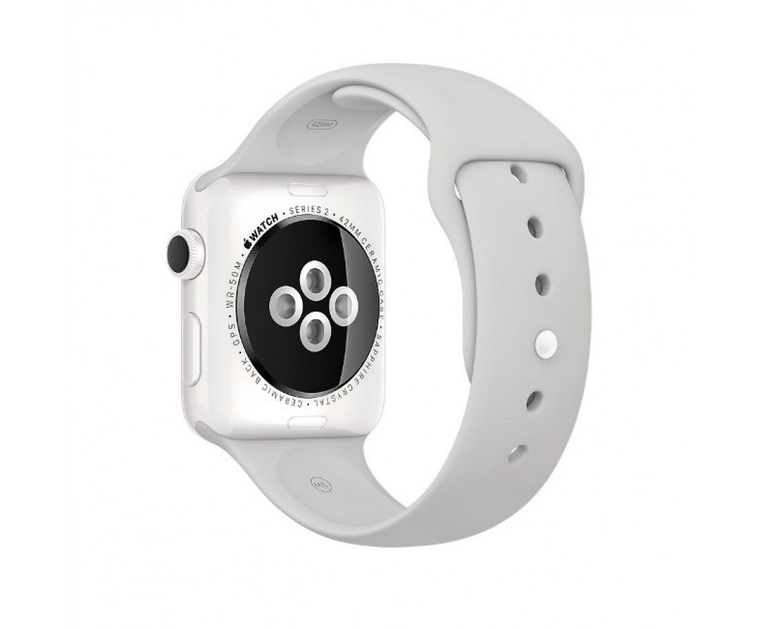Apple Watch Edition 42mm White Ceramic Case with White Sport Band (MNPQ2)