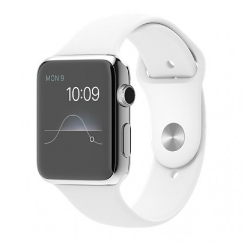 Apple Watch 42mm Stainless Steel Case with White Sport Band (MJ3V2)  5/5  б/у
