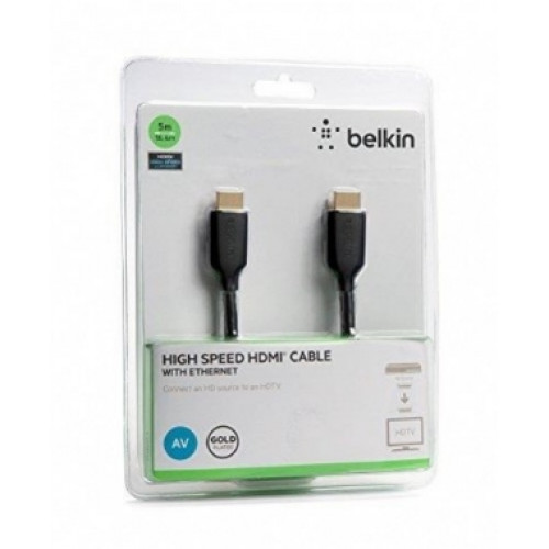 Кабель BELKIN HDMI (AM/AM) High Speed w/Ethernet 5м, BLACK,GOLD F3Y021bt5M