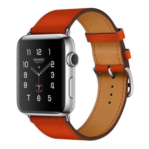 Apple Watch Hermes 42mm Series 2 Stainless Steel Case with Feu Epsom Leather Single Tour (MNQ22)