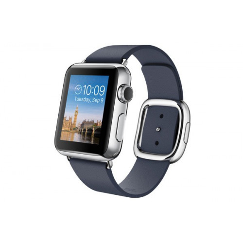 Apple Watch 38mm Stailnless Steel Case with Midnight Blue Modern Buckle (MJ332)