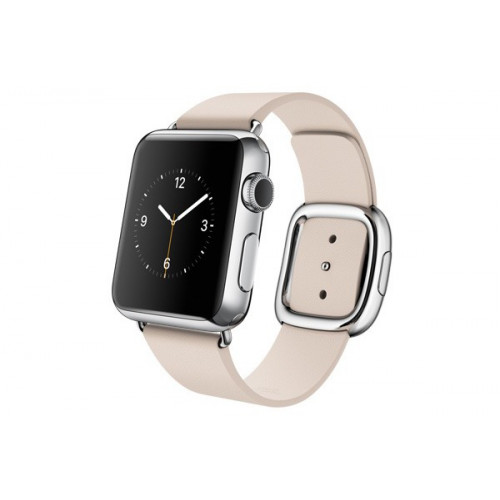 Apple Watch 38mm Stailnless Steel Case with Soft Pink Modern Buckle (MJ362)
