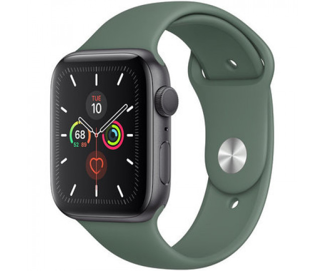 Apple Watch Series 5 (GPS) 44mm Space Gray Aluminum Case with  Green Sport Band (MWT52)