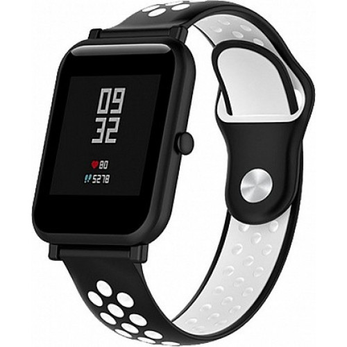 UWatch Silicone Double color strap for Amazfit Bip Black/White