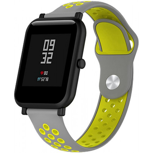 UWatch Silicone Double color strap for Amazfit Bip Grey/Yellow