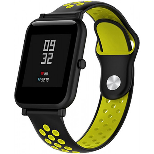 UWatch Silicone Double color strap for Amazfit Bip Black/Yellow