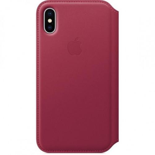 Apple iPhone X Leather Folio - Berry (MQRX2) без коробки
