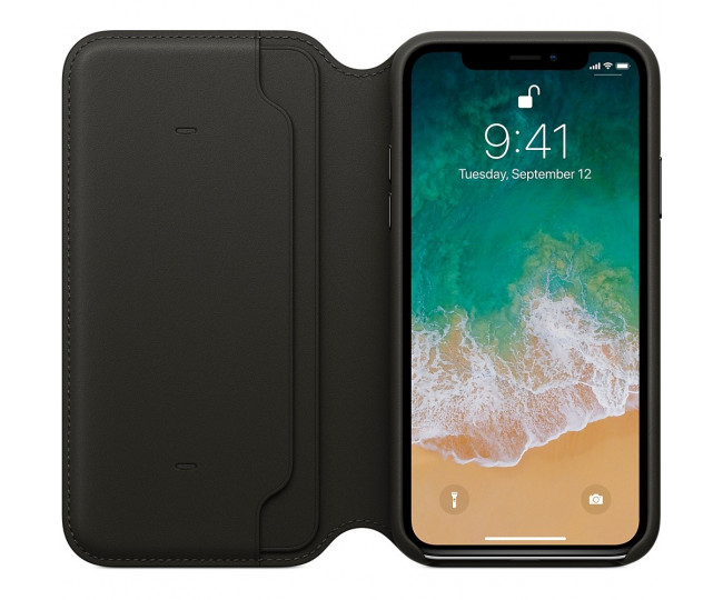 Apple iPhone X Leather Folio - Black (MQRV2) без коробки
