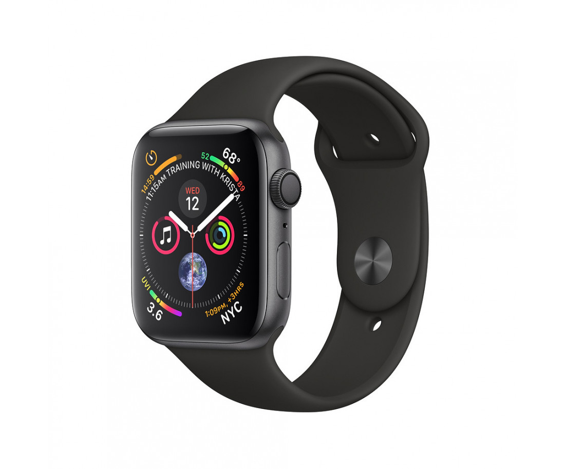 Apple Watch GPS Cellular 44mm Space Black Stainless Steel Case with Black Sport Band (MTV52 / MTX22)