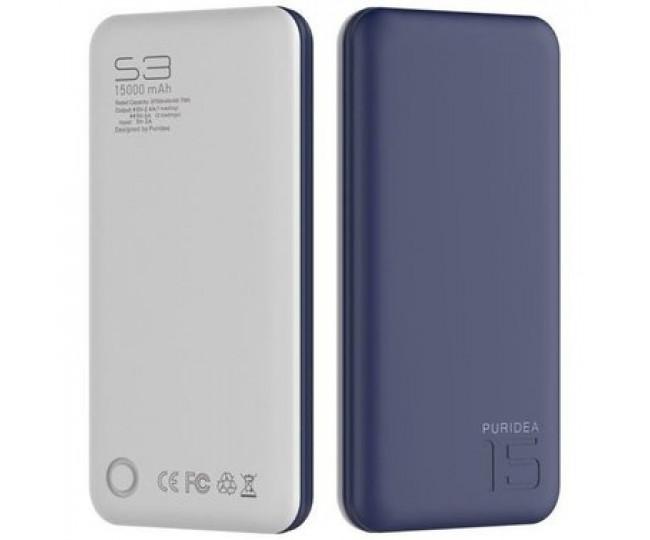 Внешний аккумулятор PURIDEA S3 15000mAh Li-Pol Rubber Blue & White