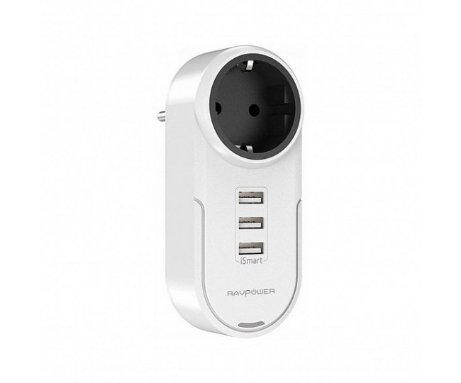 Зарядное устройство RavPower Rotate Plug 4-in-1 Surge Protector (1AC Outlet+3USBPorts) (RP-PC003WH)