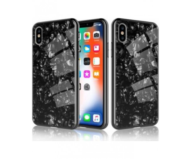 Чехол Proda Glass Marble для iPhone XS Max Black