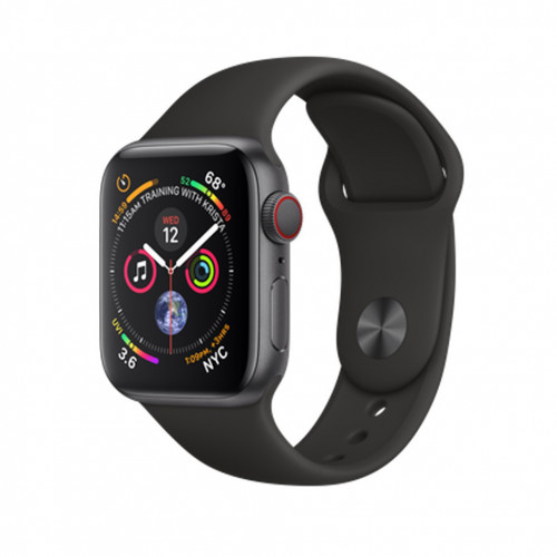 Apple Watch Series 4 GPS Cellular, 40mm Space Black Stainless Steel Case with Black Sport Band (MTUN2 / MTVL2)
