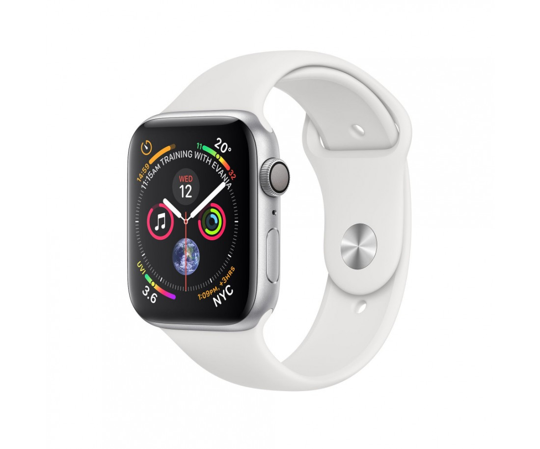 Apple Watch Series 4 GPS LTE (MTUL2 / MTVJ2) 40mm Stainless Steel Case with White Sport Band