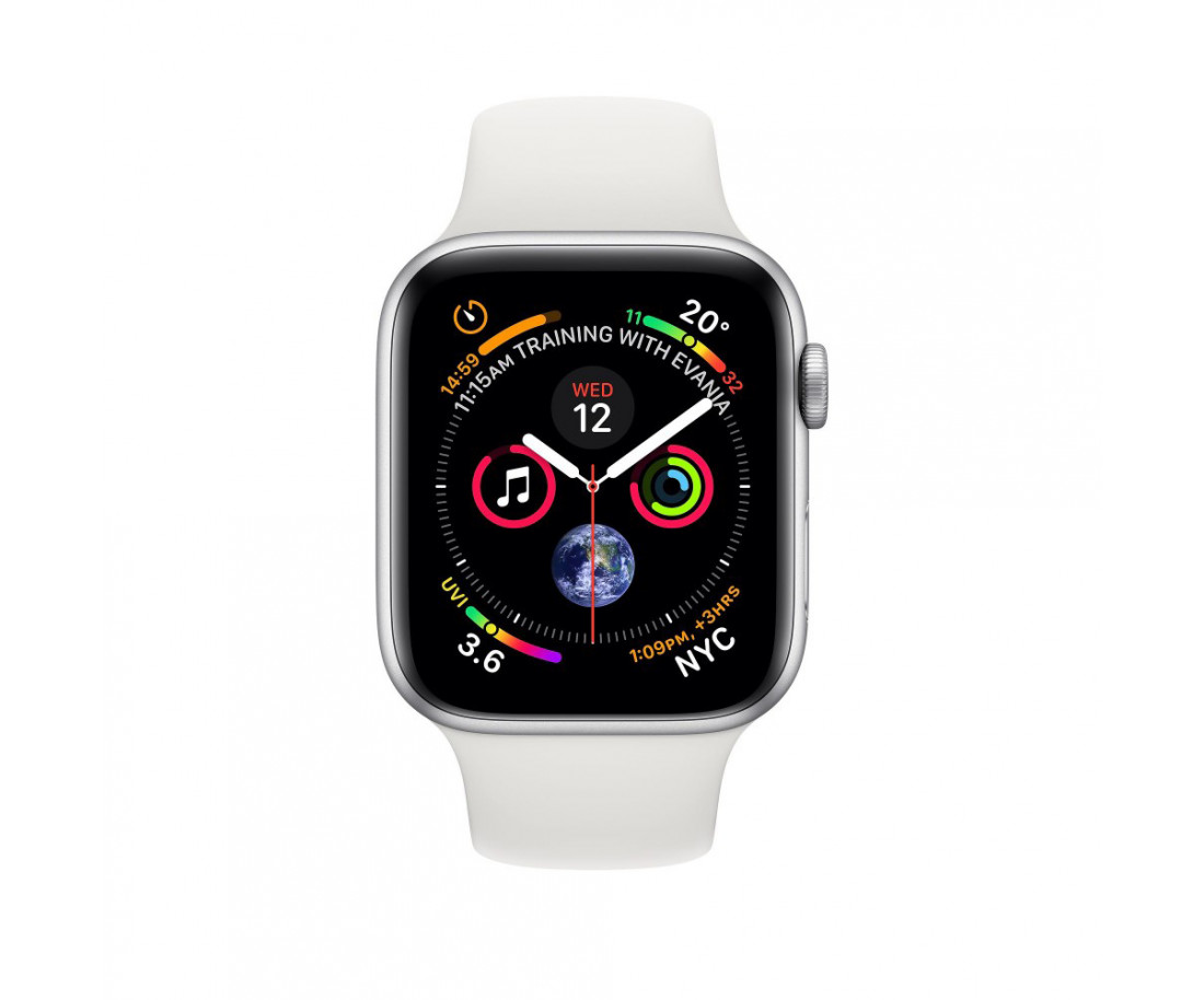 Apple Watch GPS + Cellular 44mm Silver Aluminum Case with White Sport Band (MTVR2)