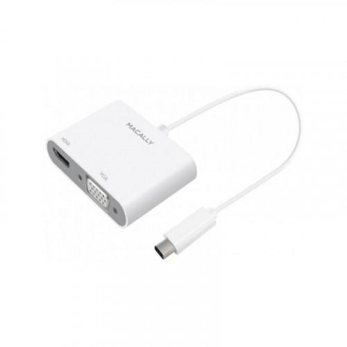 Адаптер Macally Adapter USB-C to VGA and HDMI 4K White (UCVH4K)