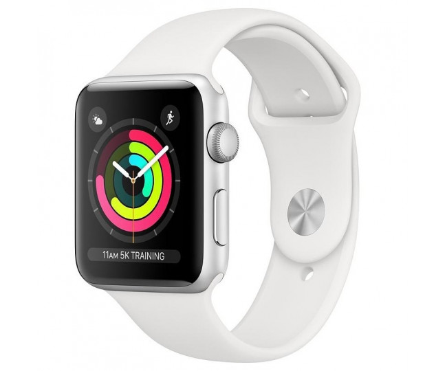Apple Watch Series 3 GPS 42mm Silver Aluminium Case with White Sport Band (MTF22)