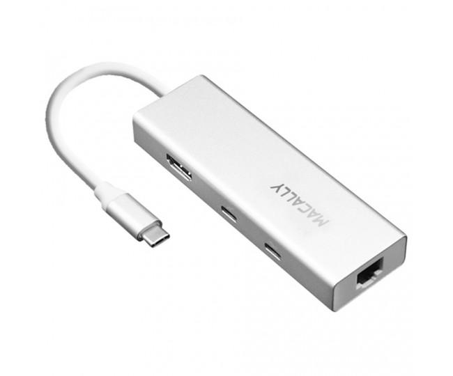 Докстанция Macally USB-C to 2x USB-A/USB-C/4K HDMI/Ethernet