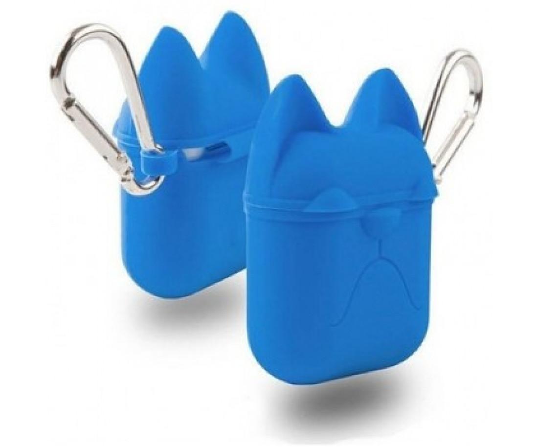 Чехол для Airpods Silicon Case Dog с карабином Royal Blue