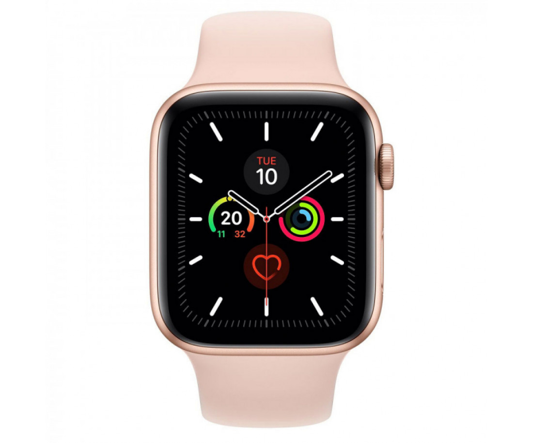 Apple Watch Series 5 (GPS + Cellular) 40mm Gold Aluminum Case Pink Sand Sport Band (MWWP2, MWX22)
