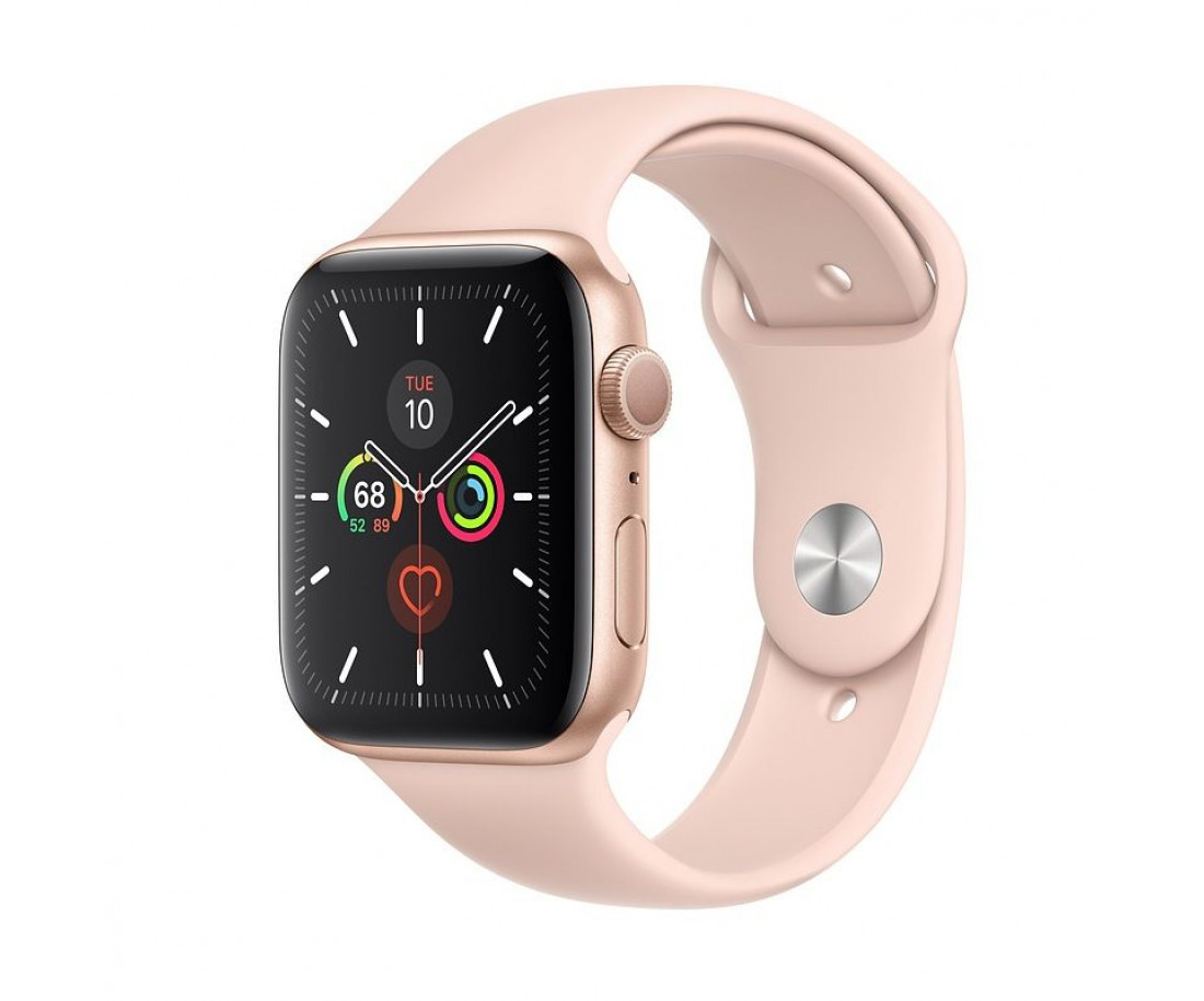 Apple Watch Series 5 (GPS + Cellular) 44mm Gold Aluminum Case Pink Sand Sport Band (MWW02, MWWD2)