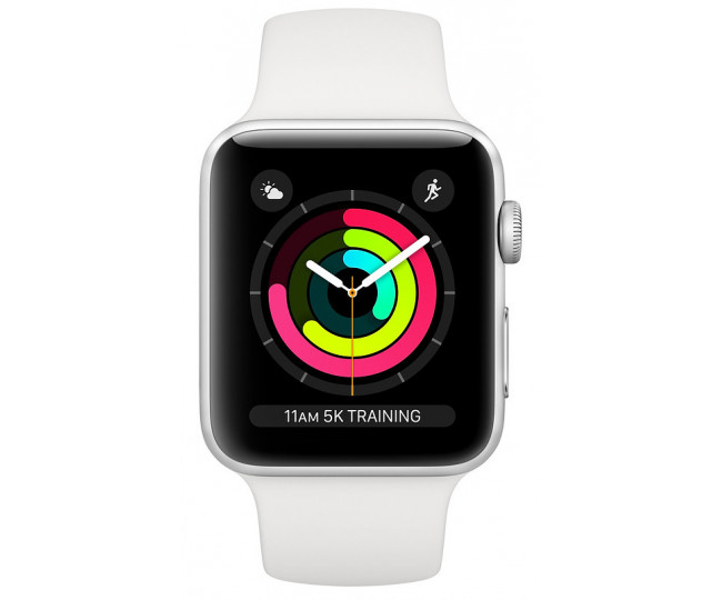 Apple Watch Series 3 42mm Silver Aluminum Case with White Sport Band (MTF22) б/у