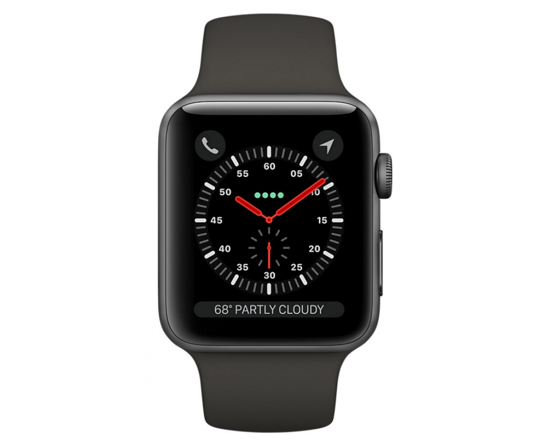 Apple Watch Space Gray Aluminum Case 42mm with Black Sport Band MQL12