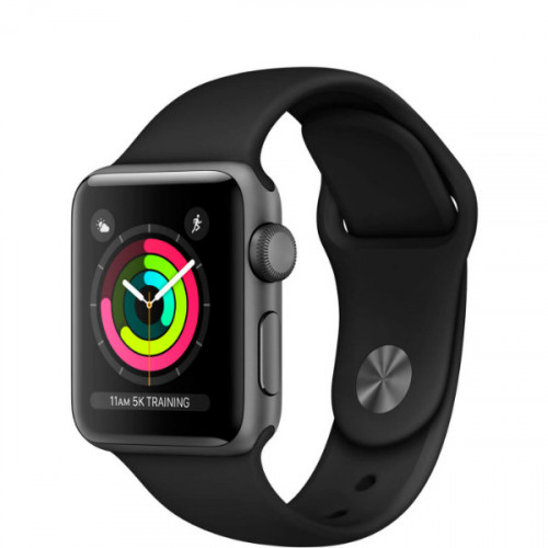 Apple Watch Series 3 38mm GPS Space Gray Aluminum Case with Black Sport Band (MQKV2)