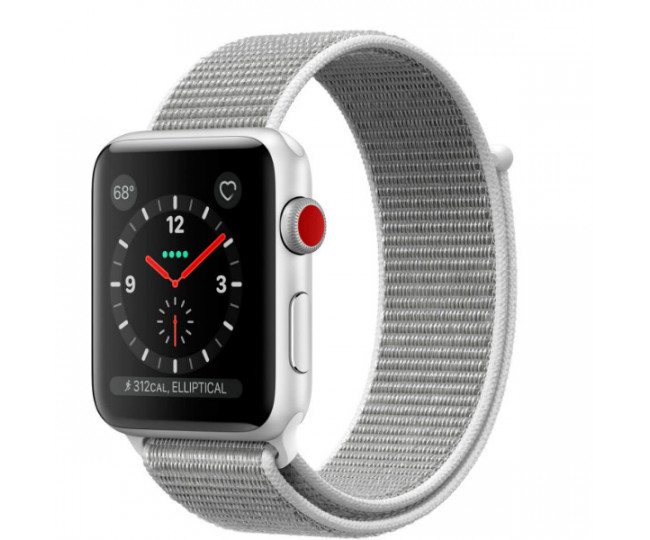 Apple Watch Series 3 GPS + LTE 42mm Silver Aluminum Case with Seashell Sport Loop ( MQK52)