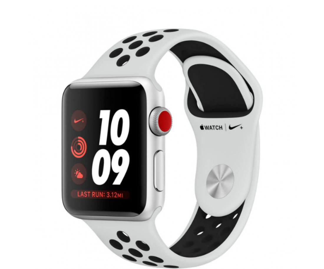 Apple Watch Series 3 Nike+ GPS + LTE 42mm Silver Aluminum Case with Pure Platinum/Black Sport Band (MQLC2)