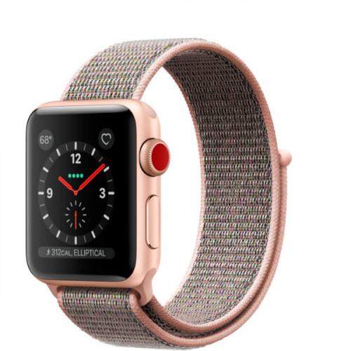 Apple Watch Series 3 GPS + Cellular 38mm Gold Aluminum Case with Pink Sand Sport Loop (MQJU2)