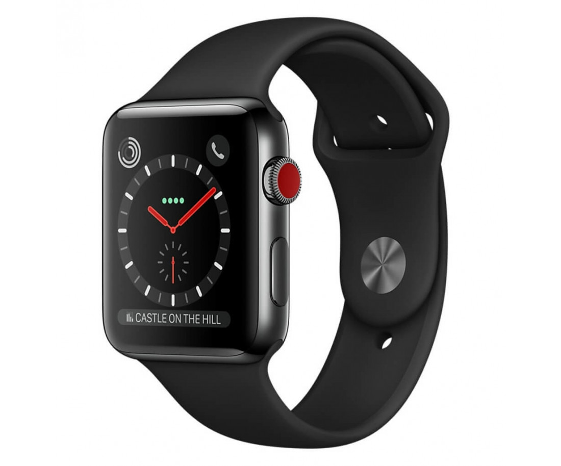 Apple Watch Series 3 GPS + Cellular 38mm Space Black Stainless Steel Case with Black Sport Band (MQJW2)