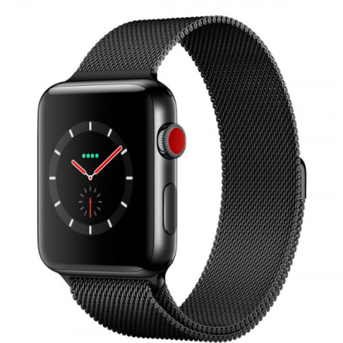 Apple Watch Series 3 GPS + Cellular 42mm Space Black Stainless Steel Case with Space Black Milanes Loop (MR1L2)