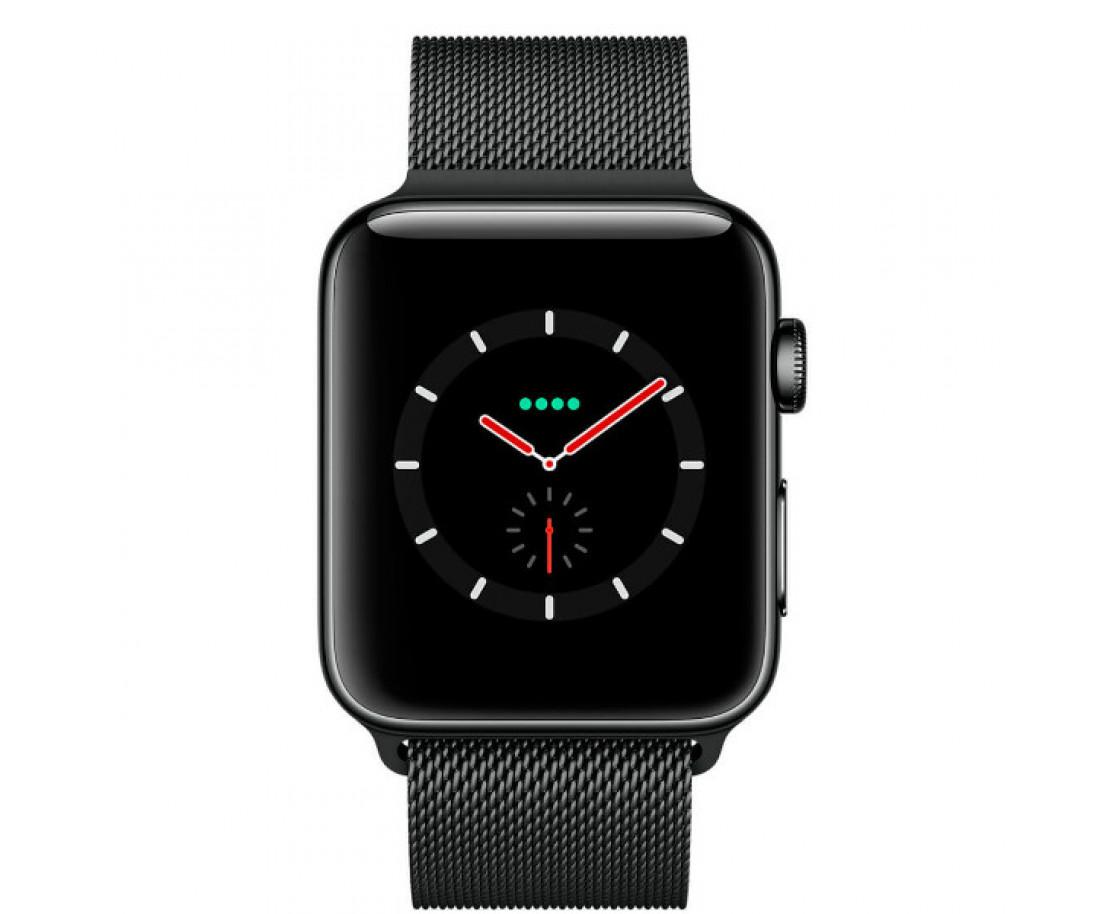 Apple Watch Series 3 GPS + Cellular 42mm Space Black Stainless Steel Case with Space Black Milanes Loop (MR1L2)