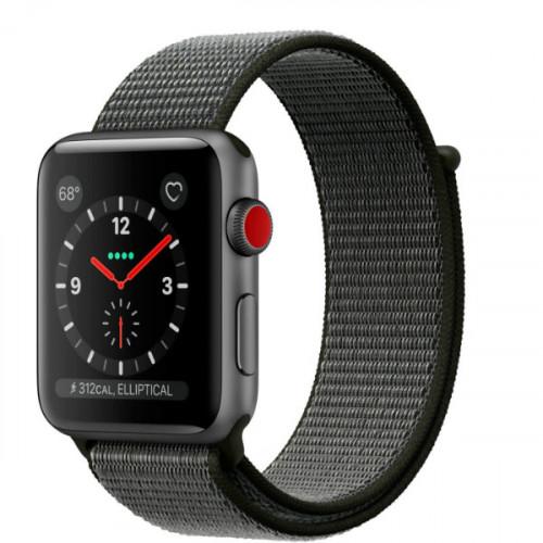 Apple Watch Series 3 GPS + LTE 38mm Space Gray Aluminum w. Dark Olive Sport L. (MQJT2 )