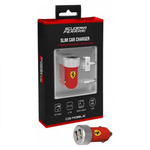 АЗУ Ferrari 2.1A 2USB +Lightning/30-pin cable Red
