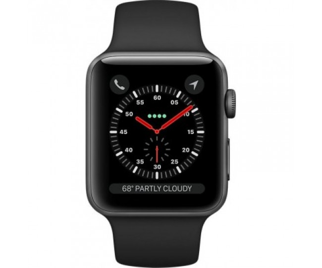 Apple Watch Series 3 GPS + LTE 42mm Space Gray Aluminum Case with Black Sport Band (MQKN2)