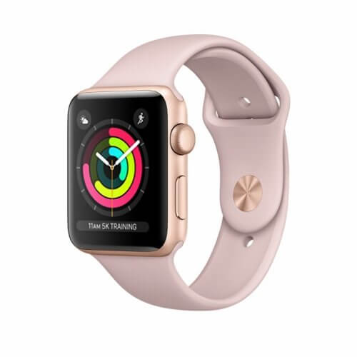 Apple Watch Series 3 38mm GPS Gold Aluminum Case with Pink Sand Sport Band (MQKW2)