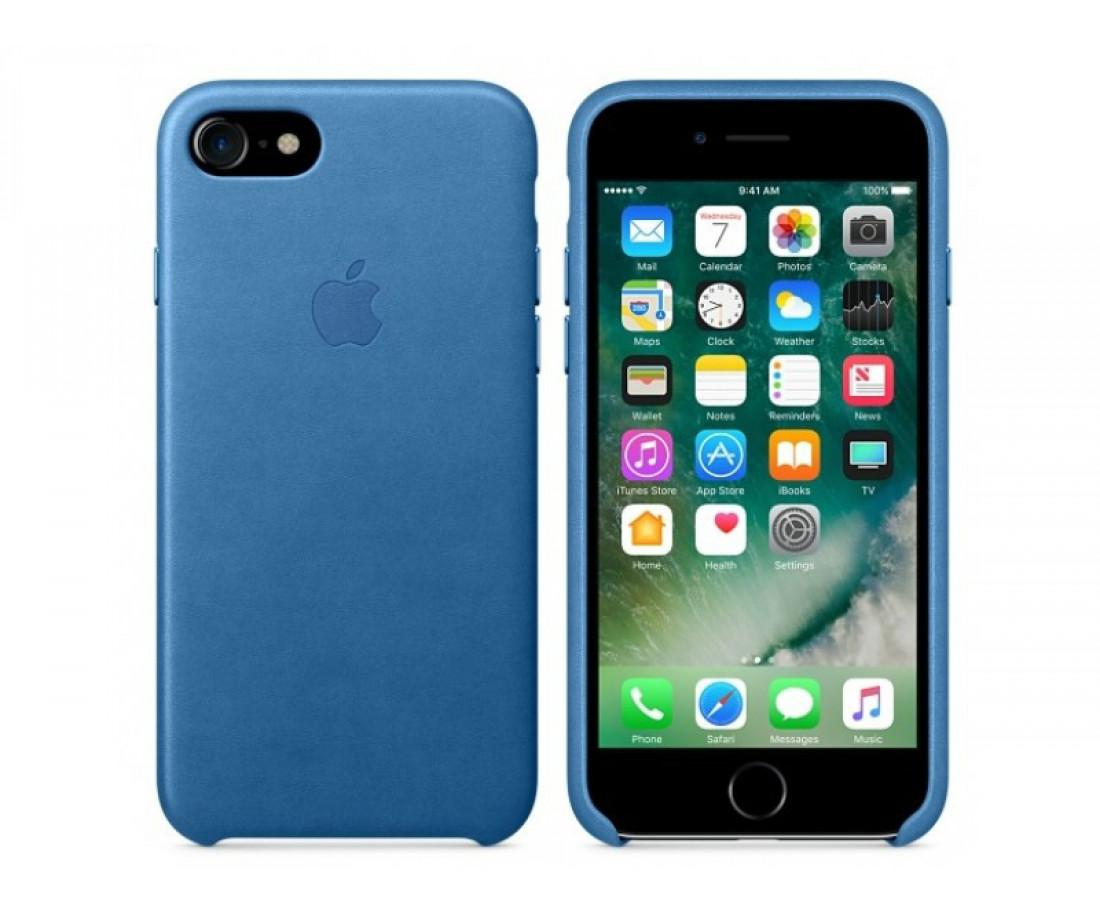 Чехол Apple iPhone 7 Leather Case - Sea Blue (MMYH2)