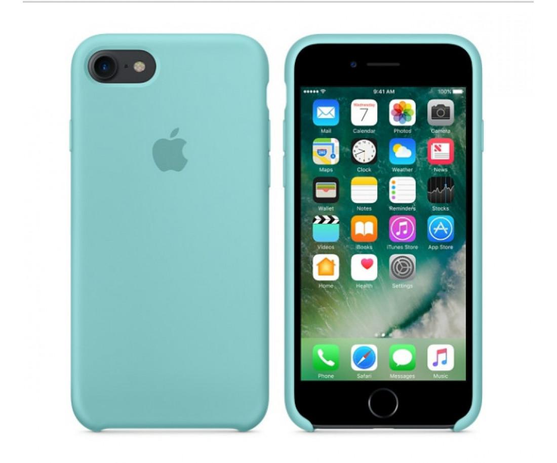 Чехол Apple iPhone 7 Silicone Case - Sea Blue (MMX02)